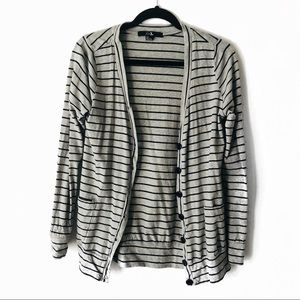 Gray and Navy Blue Striped Cardigan With Pockets